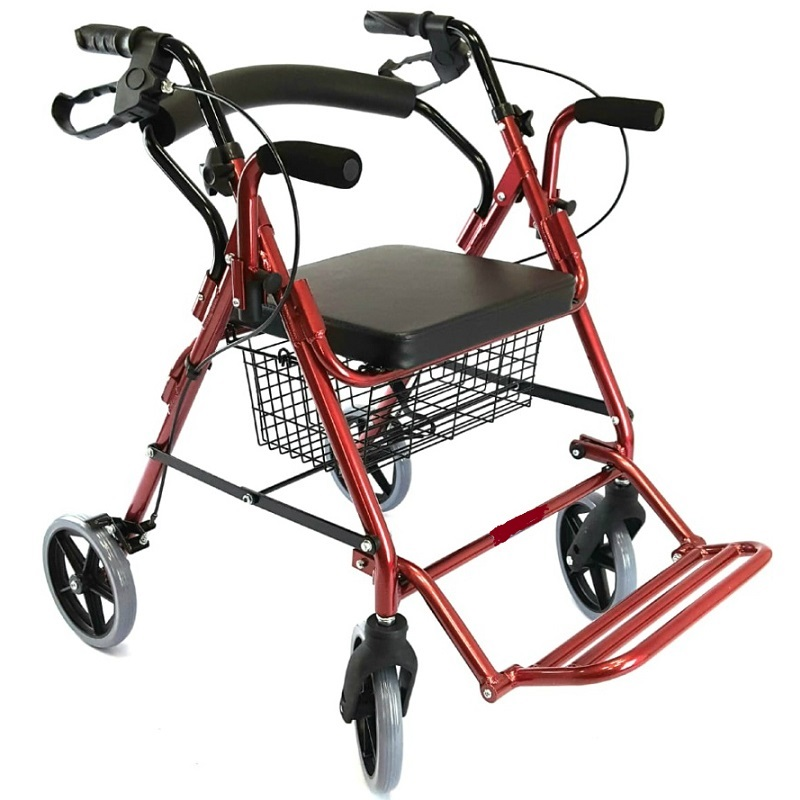 Rollator with armrest and footrest